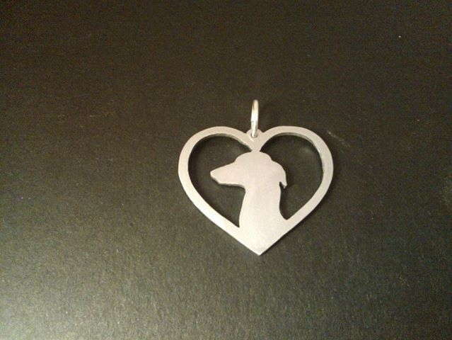 A Sterling Silver Italian greyhound in your heart pendant 35mm x 35mm And this looks so much like my little Audrey <3