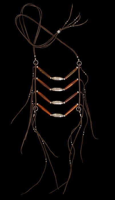 Native American breast plates inspired Southwestern/Boho-chic amber horn hairpipe breastplate/ladder necklace