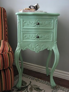 Great little mint green side table shabby chic 1 for Mint green furniture paint