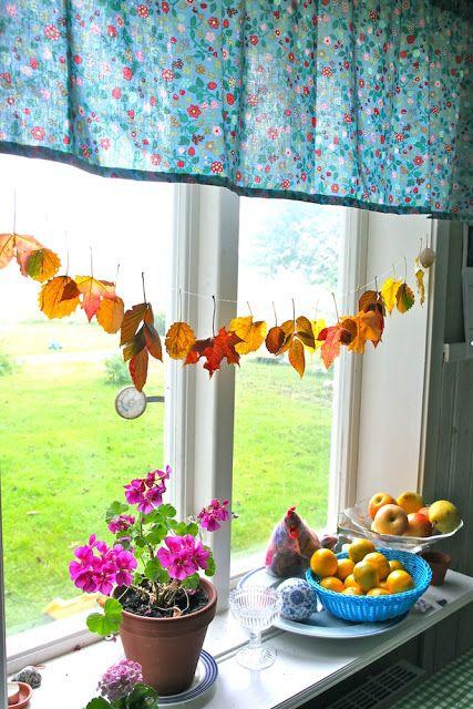 Rebeccas DIY: DIY: Höstlövsgirlang