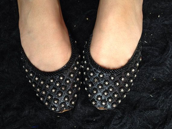 Asian Black shoes flat indian leather ballet shoes embroidered beaded work Black slippers modern shoes flat for women by Sami on Etsy, $35.66