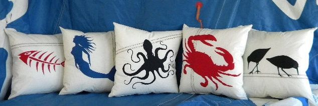 "Recycled sail cloth Pillows ""Under the Sea"" Home Collection not topstitched by SailAgainBags on Etsy https://www.etsy.com/listing/184719294/recycled-sail-cloth-pillows-under-the"