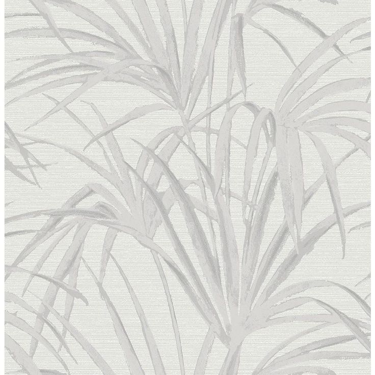 8 in. W x 10 in. H Reed Grey Palm Wallpaper Sample