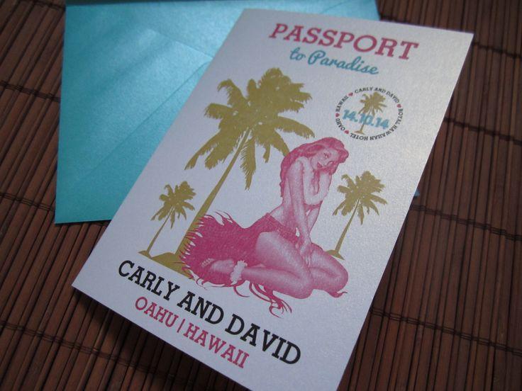 Hawaii invitation passport invitation