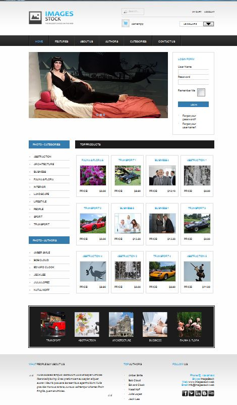 """AS 002053"" Non-responsive Joomla Template 2.5, design, Inspired by color White, Black and blue"