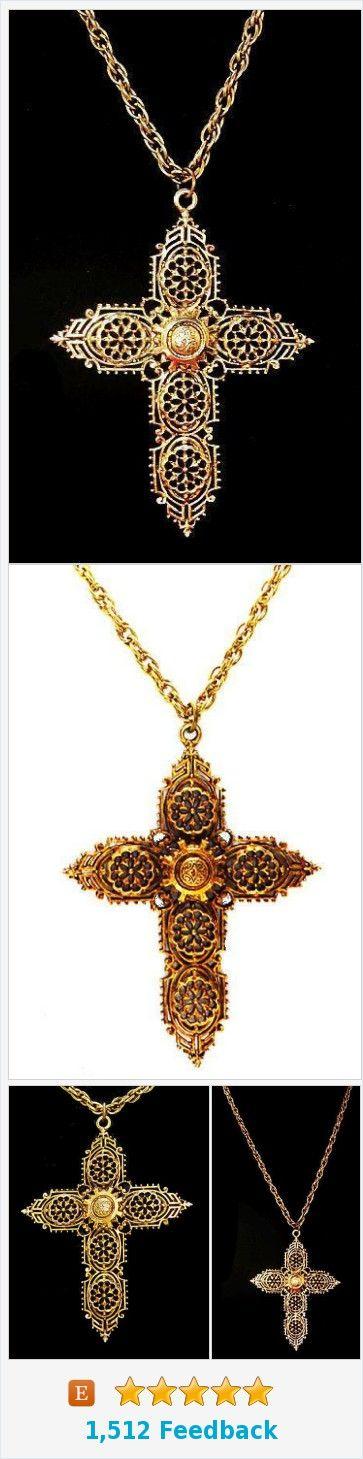 "Gold Cross Pendant Necklace Signed ART Religious Gold Filigree BIG 20"" Vintage https://www.etsy.com/BrightgemsTreasures/listing/575522628/gold-cross-pendant-necklace-signed-art?ref=shop_home_active_8"
