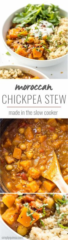 This slow cooker Moroccan Chickpea Stew is made with tons of aromatic spices, butternut squash and red lentils for a hearty, plant-based dinner!
