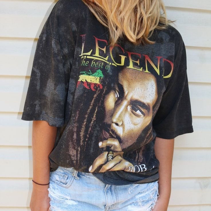 Hand bleached Bob Marley shirt! Looks so cute tied up on a girl or worn down on a guy. The acid wash looks awesome with some light wash denim shorts or even a pair of leggings. Love distressed band shirts? Check out a bunch of unique pieces on our eBay page! Get this for just $12!