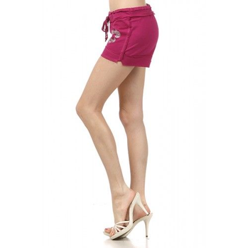 Jersey, shorts with a waist tie detail and rhinestone applique. (FT-4095KS-4096) by www.sweetnkool.com