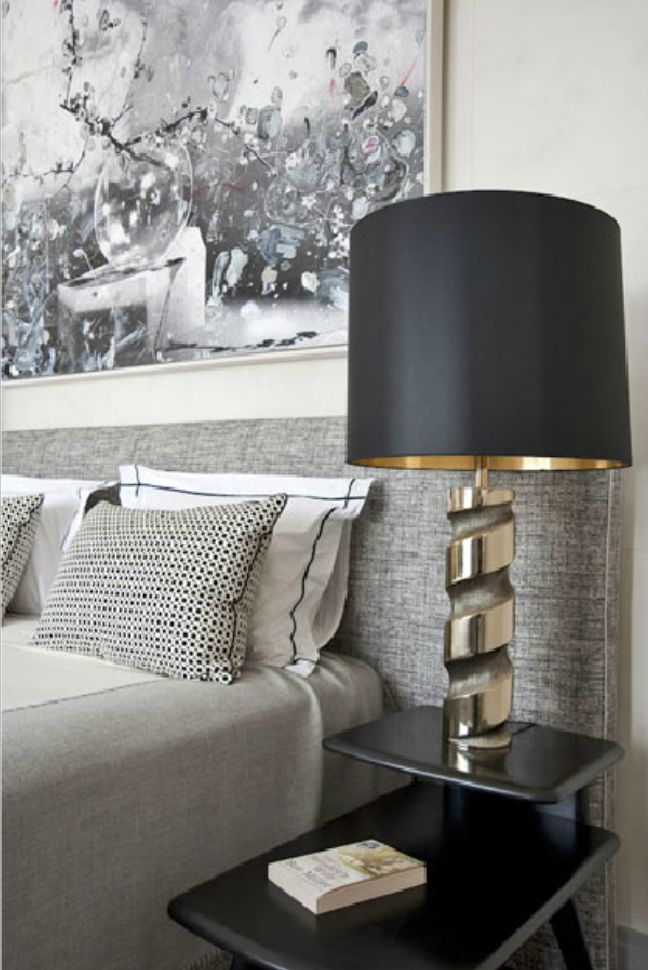 Custom Made Bedhead Is Covered In Westbury Textiles Portofino Gilded Metal Bedside Lights From Jean Pierre Orinel Painting Above The Bed By New York