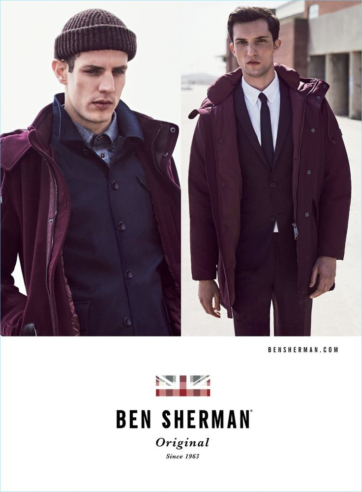 Aaron Vernon and Max Von Isser don navy and burgundy fashions for Ben Sherman's fall-winter 2017 campaign.