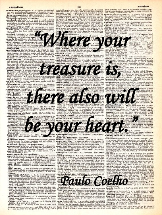 Where your treasure is...Dictionary Art Print, Vintage, Poster, Wall decor,Office decor, Handmade