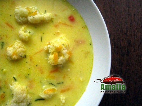 Ciorba de conopida fara carne - Cauliflower soup without meat.