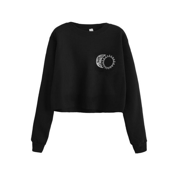 Black Sun and Moon Print Crop Sweatshirt ($6.89) ❤ liked on Polyvore featuring tops, hoodies, sweatshirts, mixed print top, cropped sweatshirt, cut-out crop tops, print sweatshirt and patterned tops