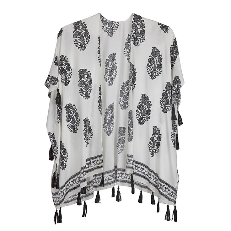 Achilleas Accessories - Προϊόντα : NEW IN! / Ρούχα / Κιμονό από βισκόζη με lace look print σε μίνιμαλ design για ένα κομψό look στην πόλη και στην παραλία.