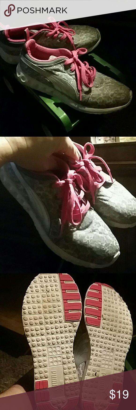 Puma tennis shoes Gray white leopard print with pink laces really cute Puma Shoes Sneakers