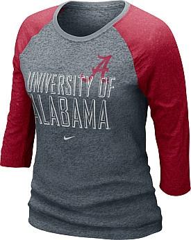 Nike Alabama Crimson Tide Women's 3/4 Burnout Raglan; It is so hard to find womens sports clothing