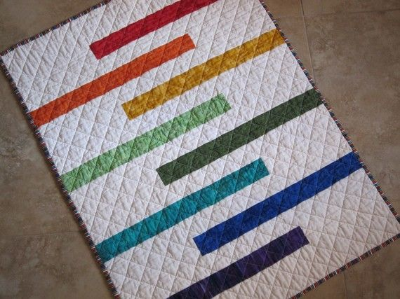 MODERN STRIPED Baby Quilt Made To Order Perfect size for your Sweet Little One from Quilts by Elena