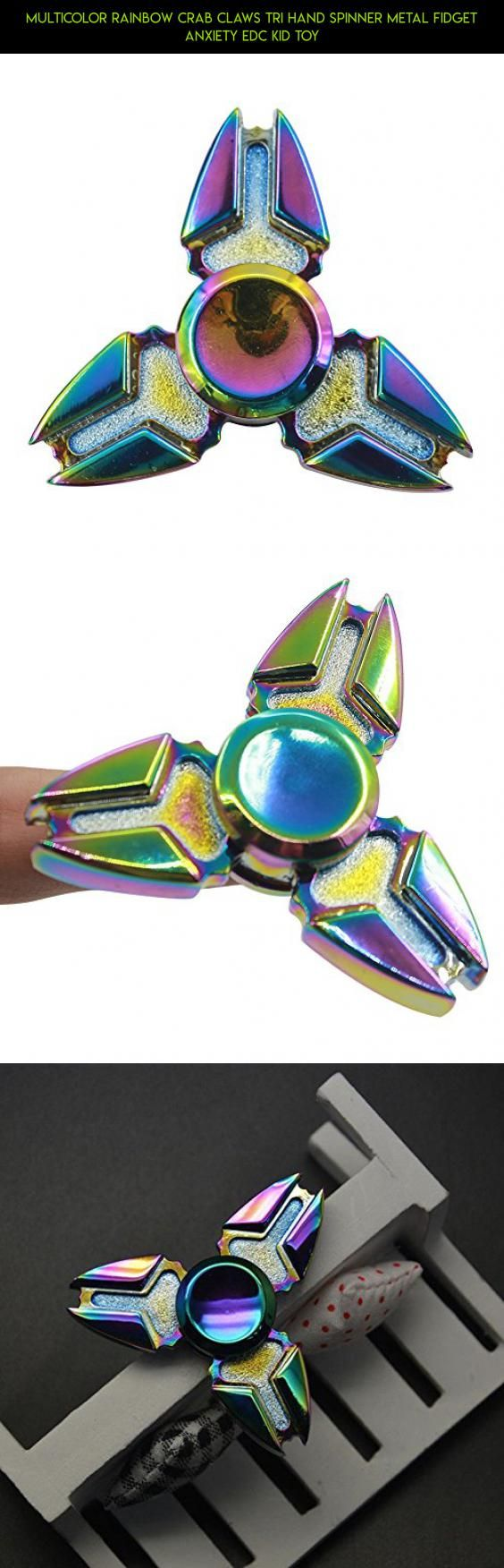 Multicolor Rainbow Crab Claws Tri Hand Spinner Metal Fidget Anxiety EDC Kid Toy #claw #plans #technology #racing #products #spinner #drone #kit #parts #rainbow #tech #shopping #camera #gadgets #fpv