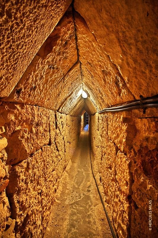 """""""The Tunnel of Eupalinos or Eupalinian aqueduct (Modern Greek: Efpalinio orygma, Ευπαλίνειο όρυγμα) is a tunnel of 1,036 m (3,399 ft) length in Samos, Greece, built in the 6th century BCE to serve as an aqueduct. The tunnel is the second known tunnel in history which was excavated from both ends (Ancient Greek: αμφίστομον, amphistomon, """"having two openings""""), and the first with a geometry-based approach in doing so.[1] Today it is a popular tourist attraction."""""""