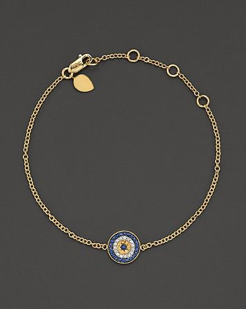 "Meira T 14 Kt. Yellow Gold/Diamond ""Evil Eye"" Bracelet | Bloomingdale's"