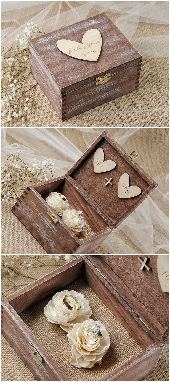 Rustic country wooden wedding ring box @4LOVEPolkaDots