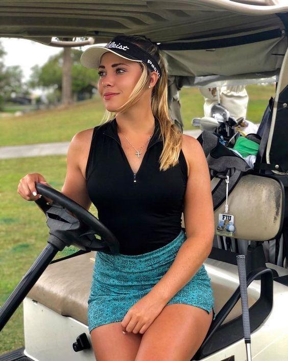 Beautiful Blond Golfer enjoy driving the cart... | Girl ...