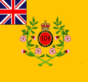 """Regimental Colour- The 104th (New Brunswick) Regiment of Foot 1803-1817 Taken into the """"line"""" as the 104th in 1810- disbanded in 1817"""