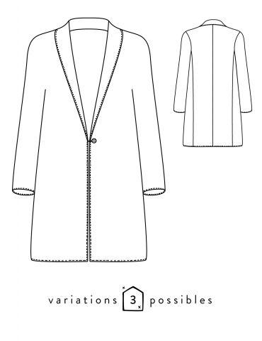 Dessin technique du manteau France Duval Stalla, devant et dos