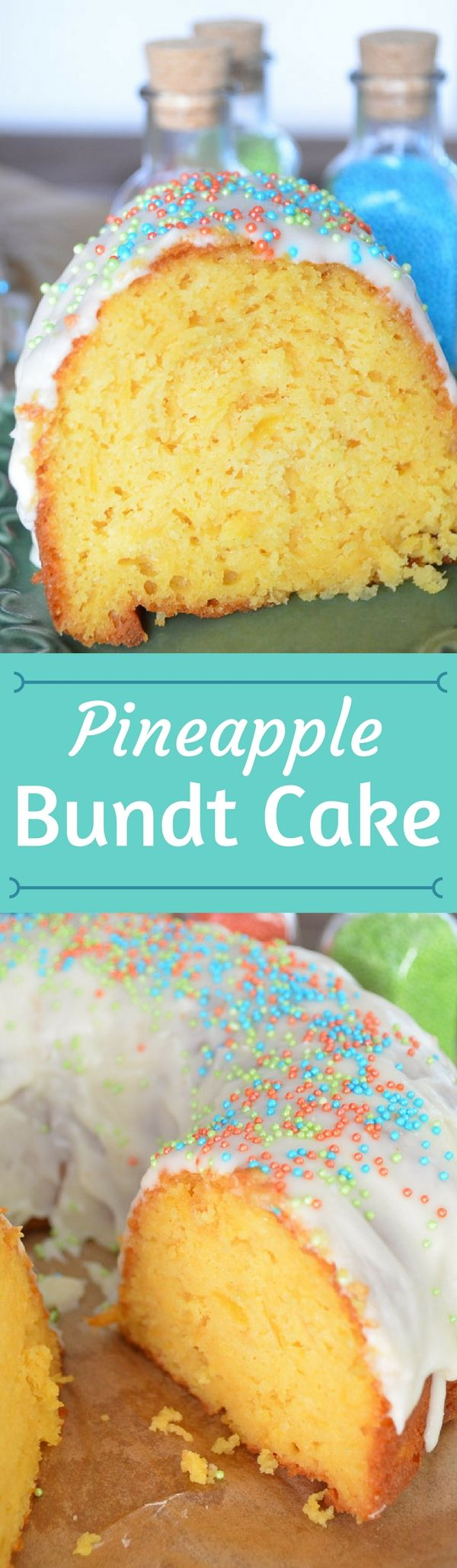 This Pineapple Bundt Cake Recipe uses the juice of a can of crushed pineapple and the crushed pineapple in the batter. It is amazing!
