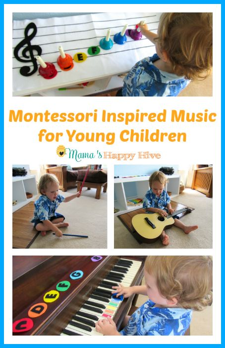 Montessori inspired music for young children that includes hand bells, guitar, piano, and more.