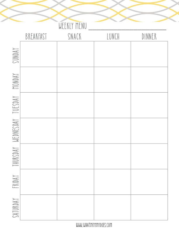 Free Printable Weekly Meal Planning Templates (and a week's worth of themed meal night ideas!) -