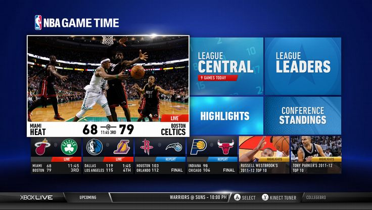 """NBA Game Time is available in the U.S. and offers the following unique features:    """"Live Games, Highlights, and Replays in HD  My Teams  Stats & Standings  Scores & Schedules  Mini Guide  Split Screen  Voice and Gesture Control with Kinect for Xbox 360""""    http://www.ditii.com/2012/10/23/xbox-dashboard-update-improve-voice-recognition-xbox-smartglass-launches/"""