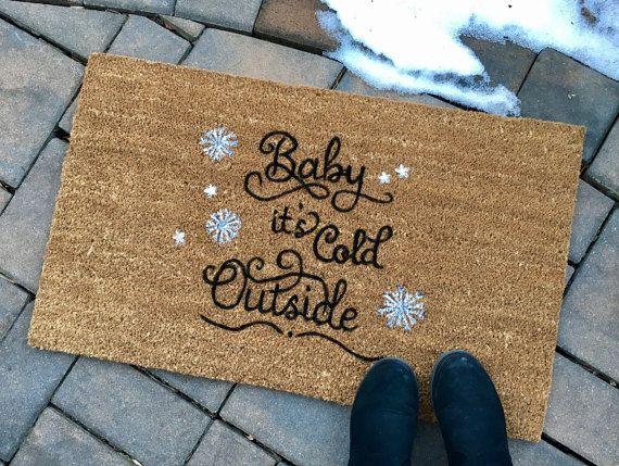 Baby It's Cold Outside Door Mat Custom Door by ToniAnnsBellaArte