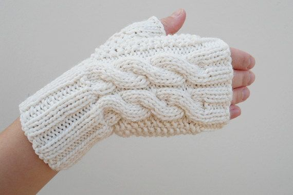 Double Cable Fingerless Gloves Beige Mittens Arm by HaKaMaDi4
