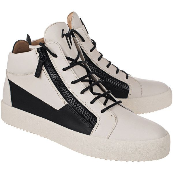 GIUSEPPE ZANOTTI May London Uomo Birel/Vague White // Leather sneakers... (2.640 RON) ❤ liked on Polyvore featuring men's fashion, men's shoes, men's sneakers, mens white sneakers, mens leather high top sneakers, mens rubber sole shoes, mens leather sneakers and mens white leather sneakers