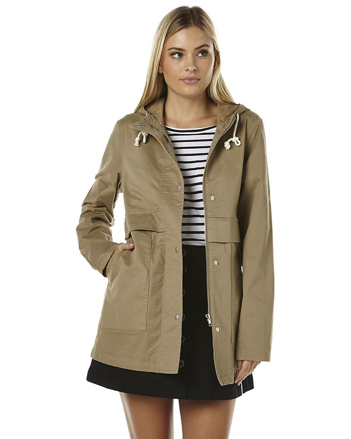 Features:Colour: StoneMade from: 97% Cotton and 3% SpandexWomens parka jacketConcealed zip-through front with press stud buttonsFixed hood with drawcord necklineLong fit through bodyDeep slip pocketsSize + Fit Guide:Models height measures: 177cmModels bust measures: 83cmModels hips measure: 93cmModels waist measures: 66cmModel is wearing a size 10