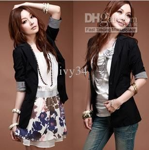 Wholesale 2013 Newly Women Casual Black Suit Coat Black beige Spring and autumn OL Coats lady outwear S M L, Free shipping, $19.62-29.5/Piece | DHgate