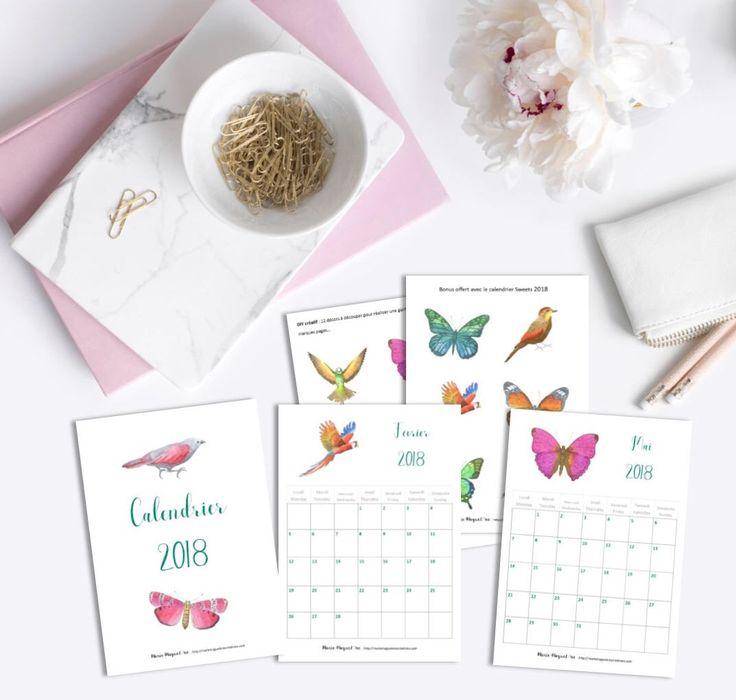 Voici ce que je viens d'ajouter dans ma boutique #etsy: Calendrier Birds Printable 2018 - Calendrier Oiseaux et papillons - 12 mois - Nature - pratique - organisation - 2018 - Bonus DIY 12 décors #papeterie #calendrier #organisation