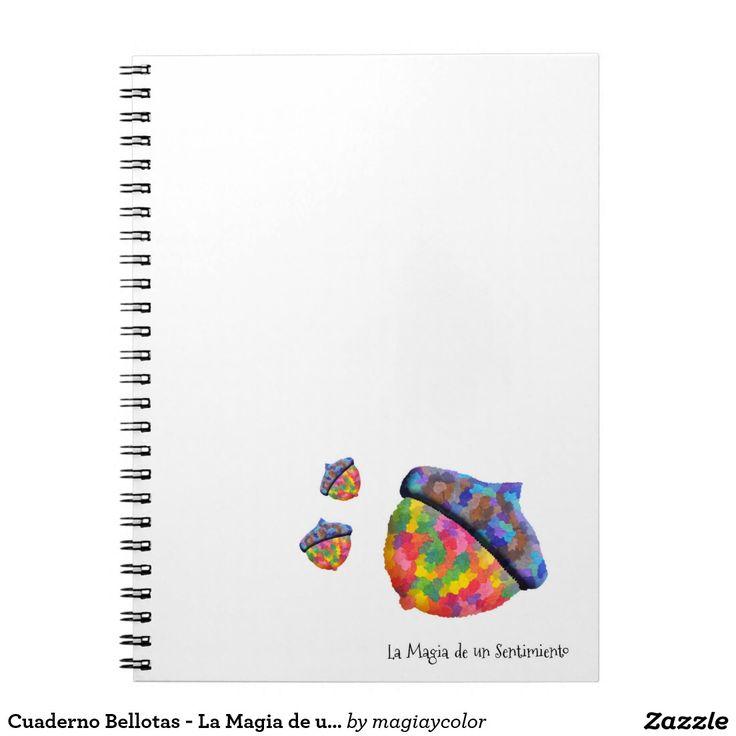 Cuaderno Bellotas - Acorn notepad - #Shop #Gift #Tienda #Regalos #Diseño #Design #LaMagiaDeUnSentimiento #MagiaYColor #ElBosqueDeXana #MaderaYManchas #colors #card #acorn #bellota #colores #bloc #cuaderno #notepad #espiral