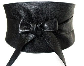 Black Leather Belt   Obi Corset Belt   Leather obi belt   Plus size belts