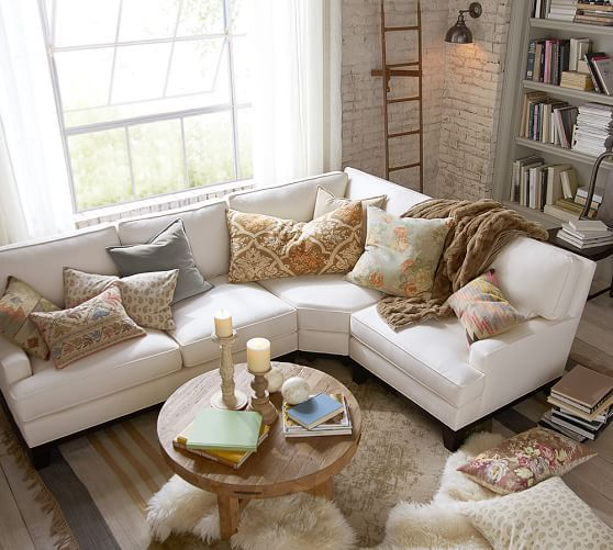 Seabury Upholstered Right Arm 3-Piece Wedge Sectional, Down Blend Wrapped Cushions, Organic Cotton Basketweave Warm White