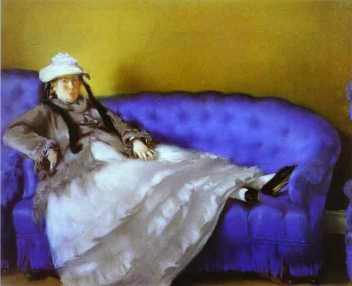 """""""Portrait of Mme. Manet on a Blue Sofa""""  Edouard Manet"""