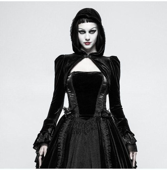 Coat Luxury Velvet Fashion Hooded Short Gothic For Women tshQrd