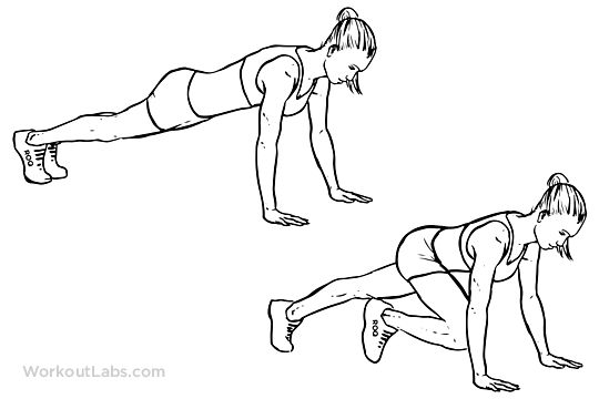 Mountain climbers alternating knee ins exercise for Plank muscles worked diagram
