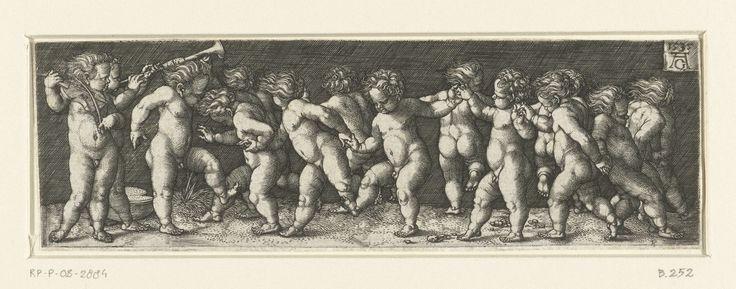 Heinrich Aldegrever   Fries met dansende kinderen, Heinrich Aldegrever, 1535   Fries met dertien dansende naakte kinderen, zij dansen hand in hand in een cirkel. Twee kinderen staan buiten de cirkel muziek te maken, één speelt op een vedel, de ander op een trompet.