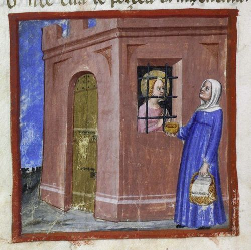 Detail of a miniature of St Margaret in prison being visited by her godmother, from Tectino's Life of St Margaret of Antioch in verse, northern Italy, first half of the 15th century, Harley MS 5347, f. 26v - See more at: http://britishlibrary.typepad.co.uk/digitisedmanuscripts/2014/07/enter-the-dragon-happy-st-margarets-day.html#sthash.oR5B5Fpu.dpuf