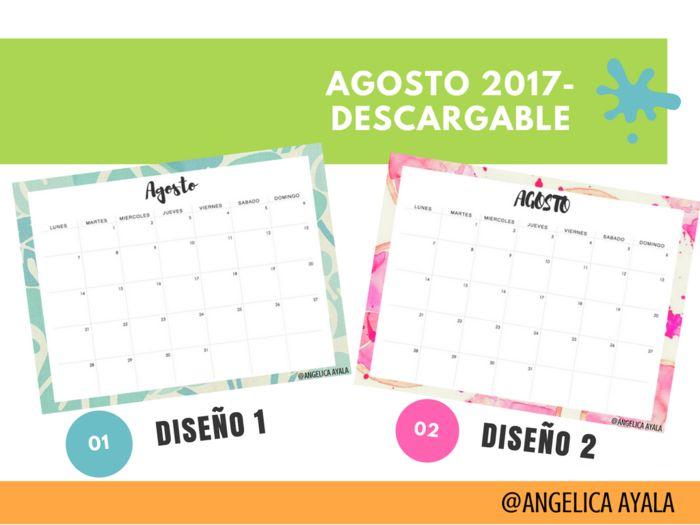 Hola Chicas, les dejo dos diseños de calendario del mes de Agosto 2017, para que lo puedan descargar, espero que les guste mucho y si desean mas diseños, me encantaria que me lo comentaran, le mando un beso enorme.