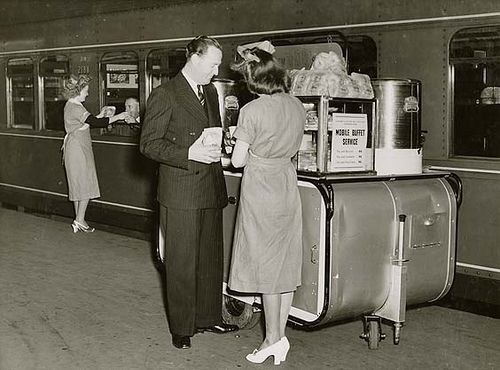 Central Railway Station, Sydney - mobile buffet service  Dated: 28 July 1948