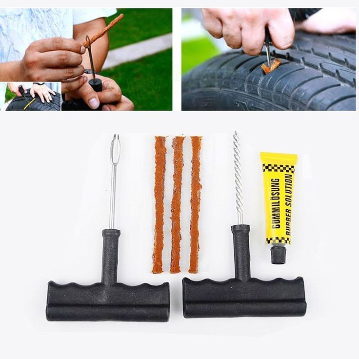 Portable 6Pcs/Set Car Tubeless Tire Tyre Puncture Plug Repair Tools Kits Car Auto Accessories Motorcycle Bicycle Rubber Cement #bikerepairdiy #bicyclerepairtools